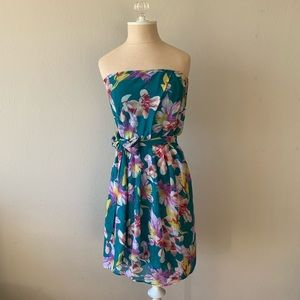 Express Floral Print Strapless Dress